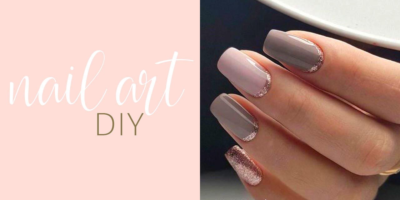 Rose Gold Reverse French Manicure Glitter Nail Art Diy
